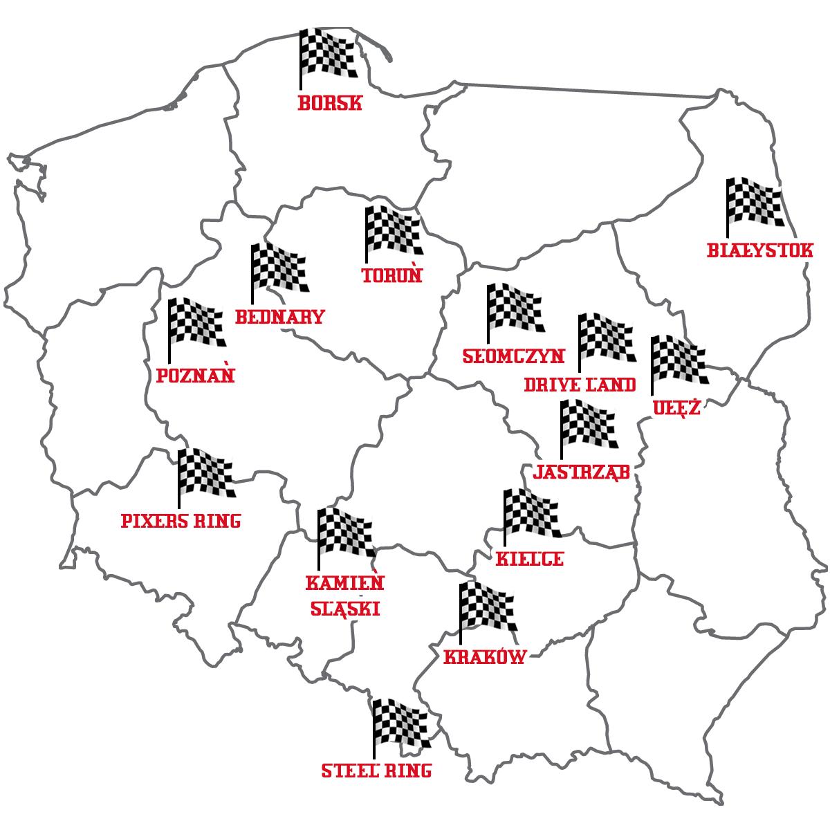 Mapa torów samochodowych