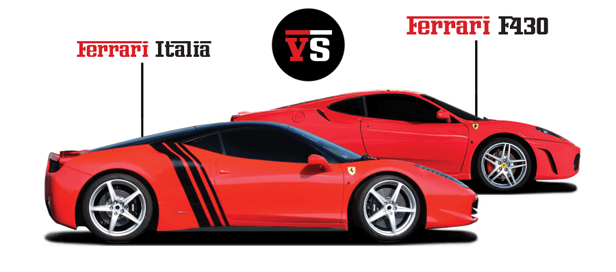 Pojedynek Ferrari California vs Ferrari 458 Italia